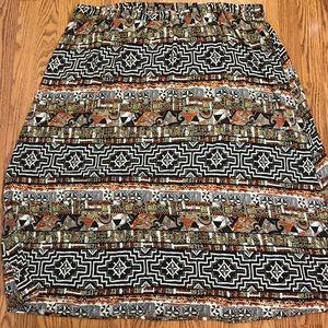 CM Shapes Bold Print Broomstick Skirt